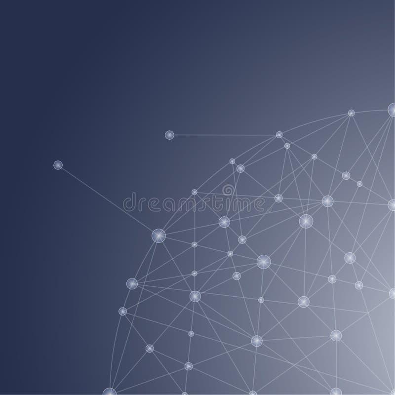 Mesh Background abstracto azul con las líneas, los círculos y sh que brillan intensamente ilustración del vector