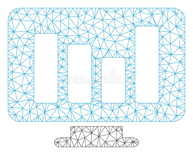 Bar Chart Monitoring Vector Mesh Carcass Model. Mesh bar chart monitoring model icon. Wire carcass triangular mesh of vector bar chart monitoring isolated on a vector illustration