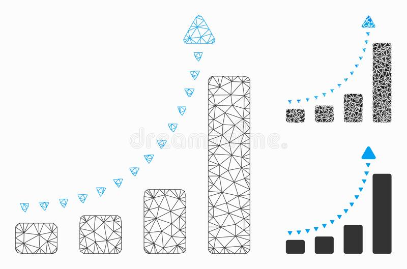 Bar Chart Positive Trend Vector Mesh Wire Frame Model and Triangle Mosaic Icon. Mesh bar chart positive trend model with triangle mosaic icon. Wire carcass royalty free illustration