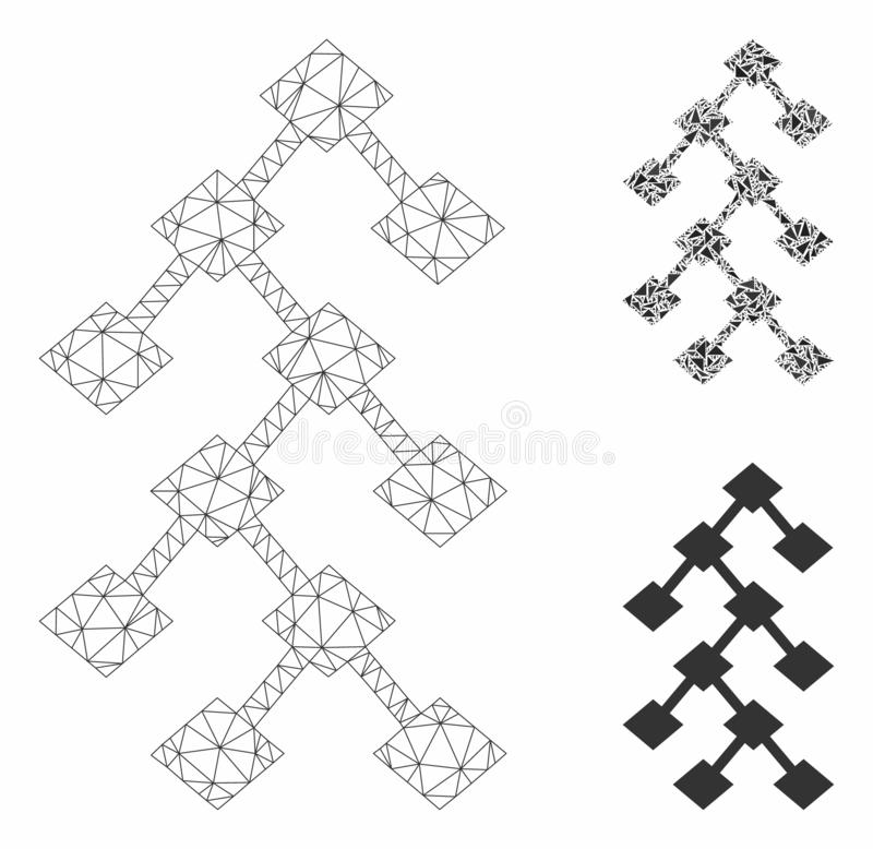 Binary Tree Vector Mesh Network Model and Triangle Mosaic Icon. Mesh binary tree model with triangle mosaic icon. Wire carcass polygonal mesh of binary tree royalty free illustration