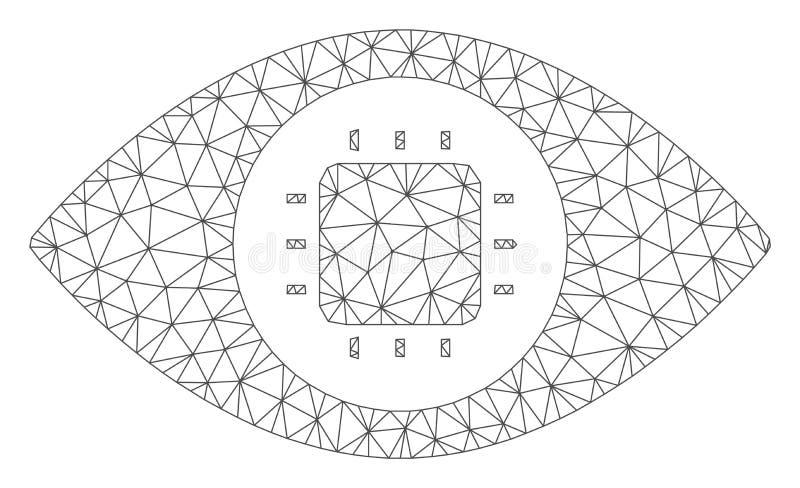 Bionic Eye Circuit Vector Mesh 2D Model. Mesh bionic eye circuit model icon. Wire carcass triangular mesh of vector bionic eye circuit isolated on a white stock illustration