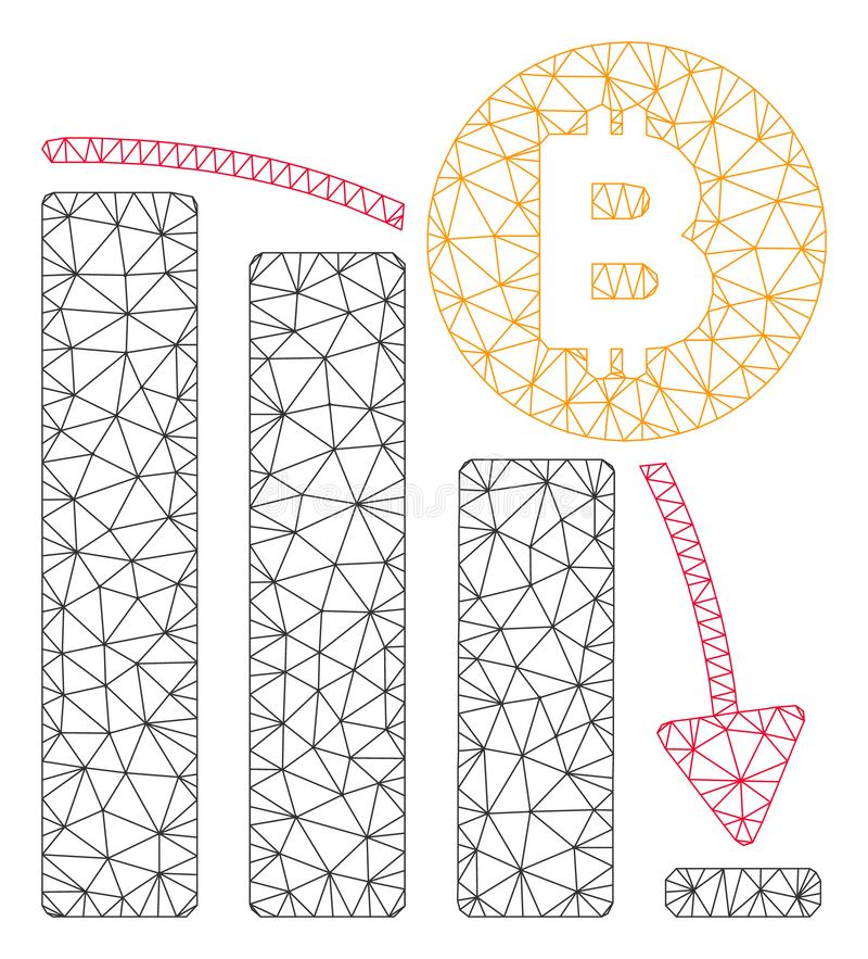 Bitcoin Panic Fall Chart Vector Mesh 2D Model. Mesh Bitcoin panic fall chart model icon. Wire carcass polygonal mesh of vector Bitcoin panic fall chart isolated vector illustration