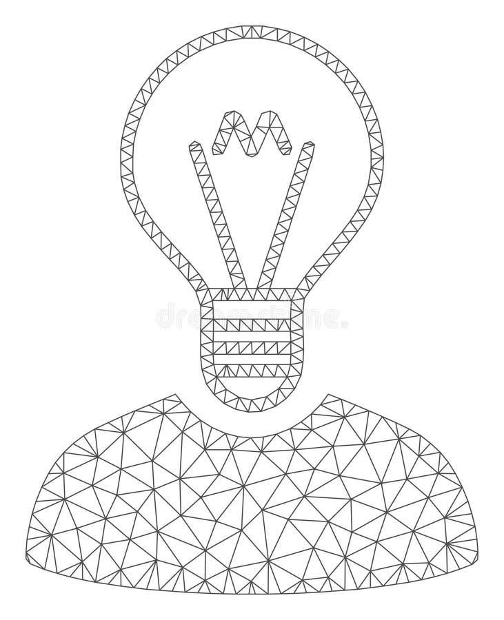 Bulb Inventor Polygonal Frame Vector Mesh Illustration. Mesh bulb inventor polygonal icon vector illustration. Abstraction is based on bulb inventor flat icon stock illustration