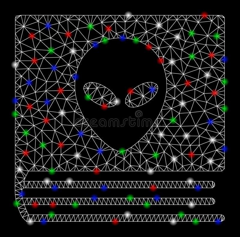 Mesh Carcass Alien Catalog brilhante com pontos do alargamento ilustração do vetor