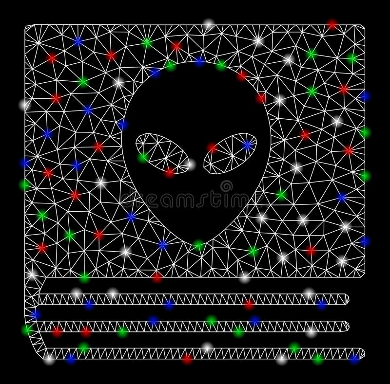 Mesh Carcass Alien Catalog brillante con los puntos de la llamarada ilustración del vector