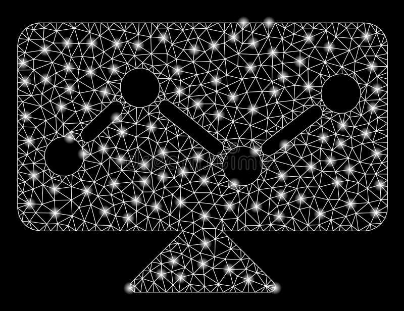 Mesh Carcass Analytics Monitoring brillante con los puntos de la llamarada libre illustration