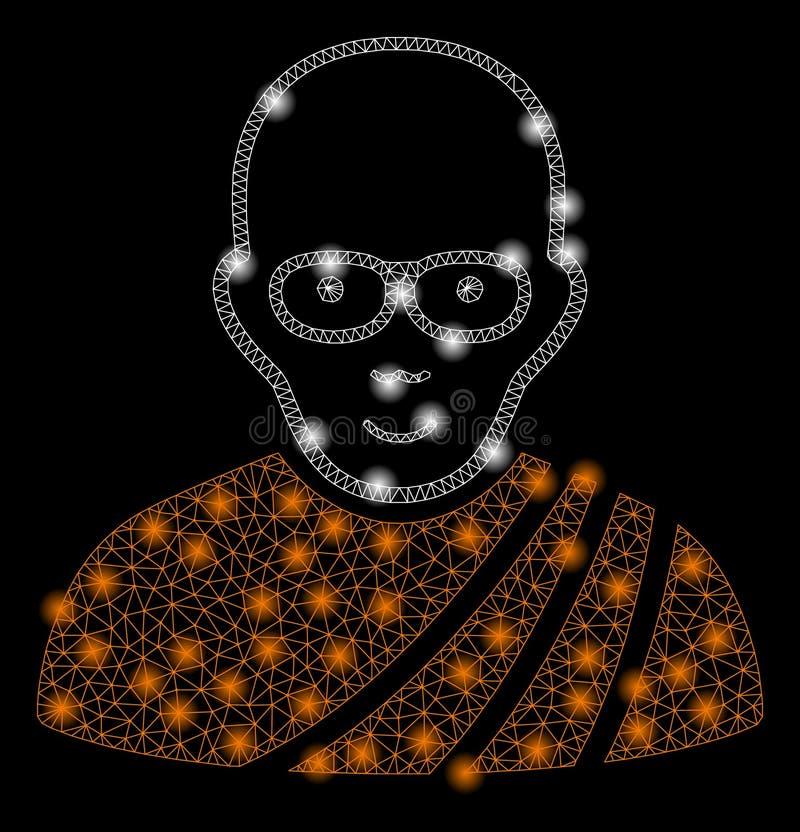 Mesh Carcass Buddhist Monk brilhante com pontos claros ilustração stock