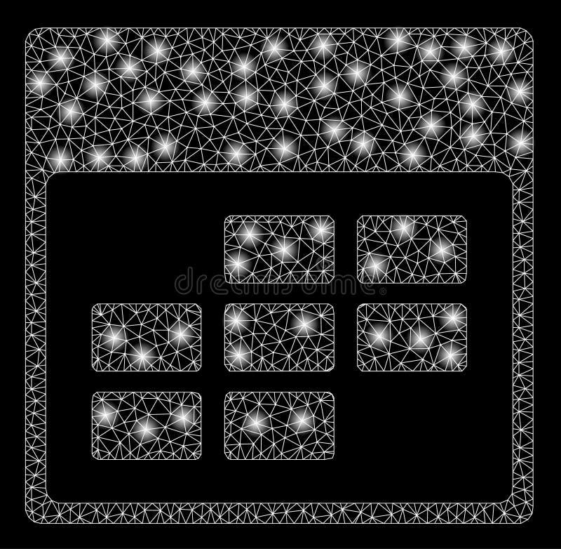 Mesh Carcass Calendar Month Grid brilhante com pontos claros ilustração do vetor