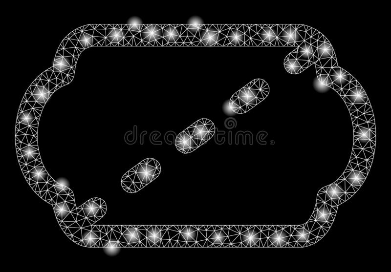 Mesh Carcass Cinema Ticket brillant avec les taches lumineuses illustration stock