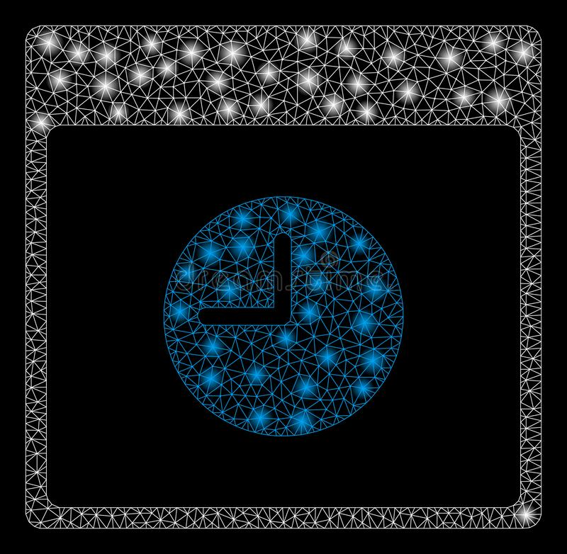 Mesh Carcass Clock Calendar Page brillant avec les taches lumineuses illustration de vecteur