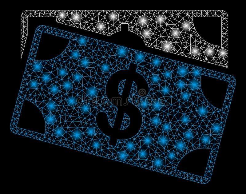 Mesh Carcass Dollar Banknotes brilhante com pontos instantâneos ilustração stock