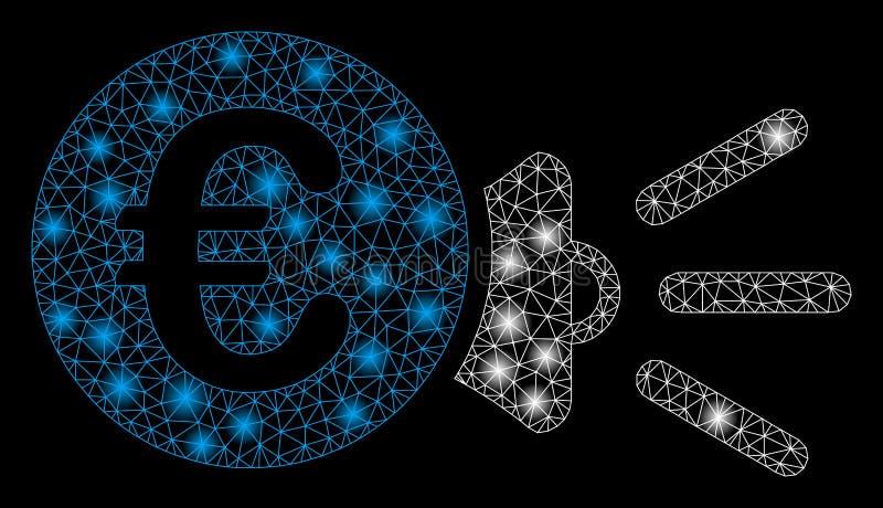 Mesh Carcass Euro Megaphone Ads intelligent avec les taches lumineuses illustration de vecteur