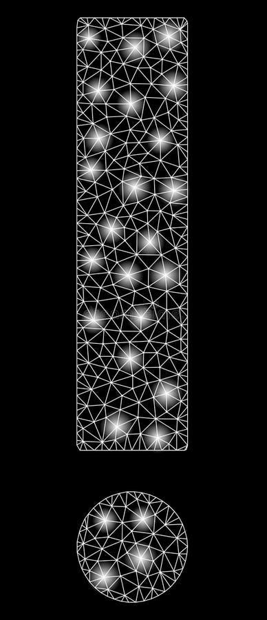 Mesh Carcass Exclamation Sign brillante con los puntos de destello ilustración del vector