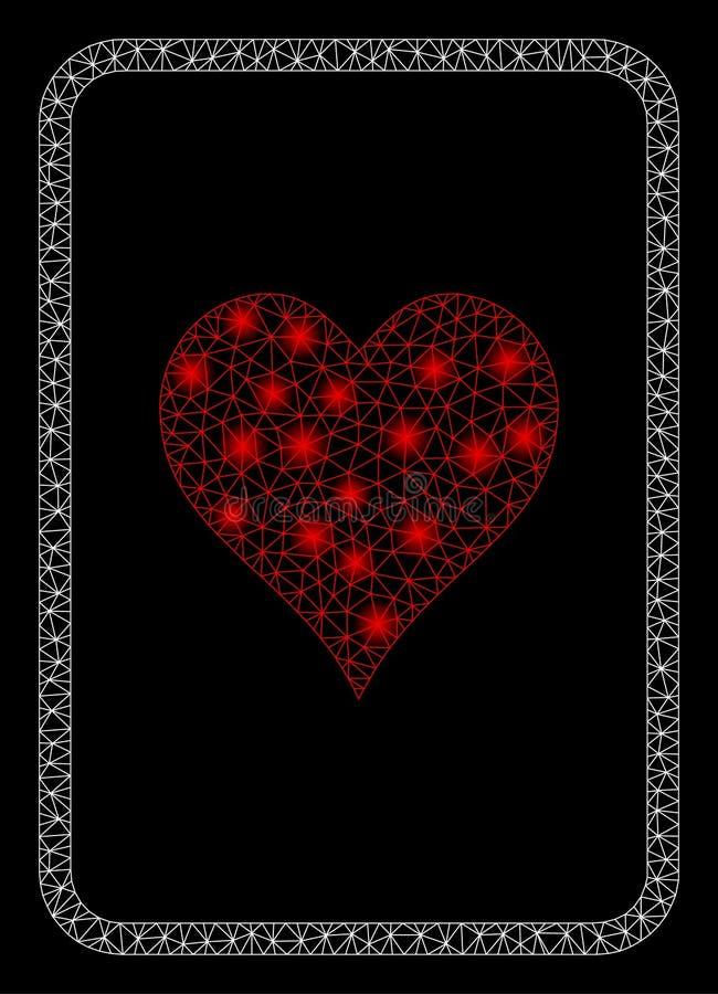 Mesh Carcass Hearts Gambling Card lustroso com pontos instantâneos ilustração stock