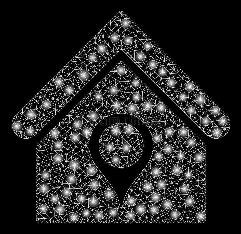 Mesh Carcass House Location brillant avec les taches instantanées illustration stock