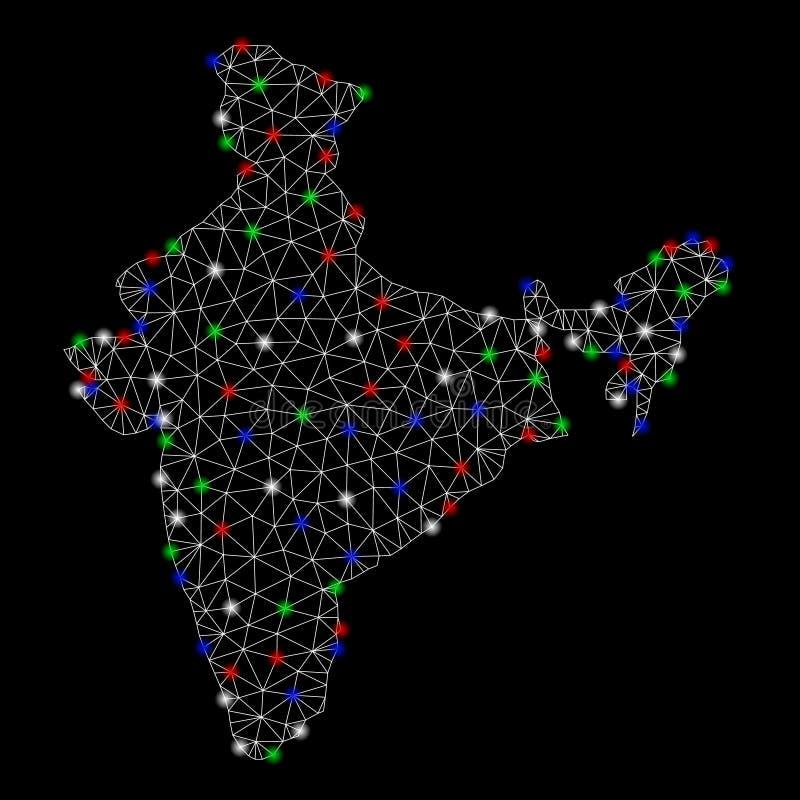 Mesh Carcass India Map intelligent avec les taches lumineuses illustration libre de droits