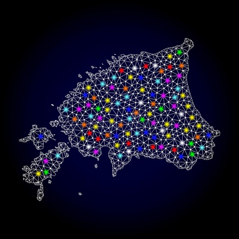 Mesh Carcass Map de Estonia con los puntos ligeros coloridos ilustración del vector