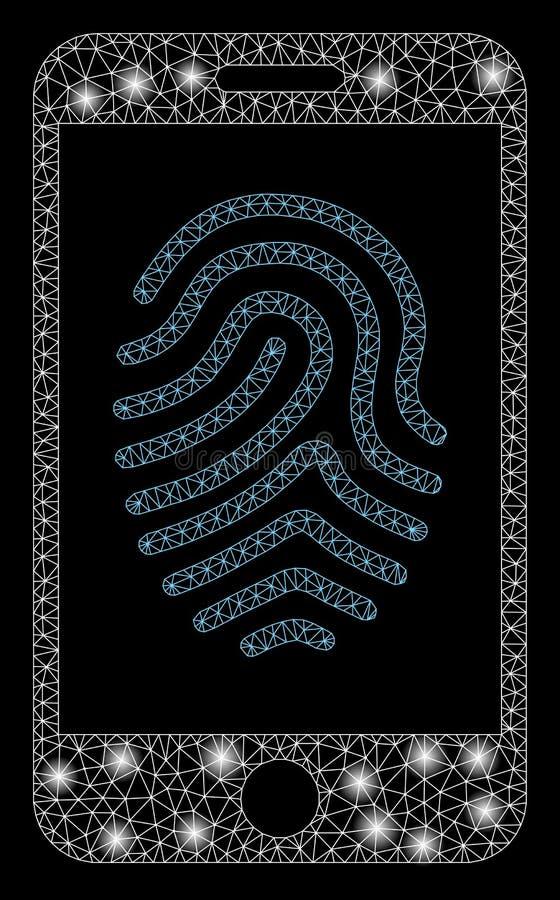 Mesh Carcass Mobile Fingerprint Authorization brillante con los puntos de la llamarada ilustración del vector