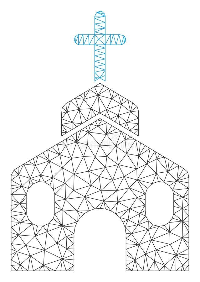 Church Building Polygonal Frame Vector Mesh Illustration. Mesh church building polygonal icon vector illustration. Abstraction is based on church building flat royalty free illustration