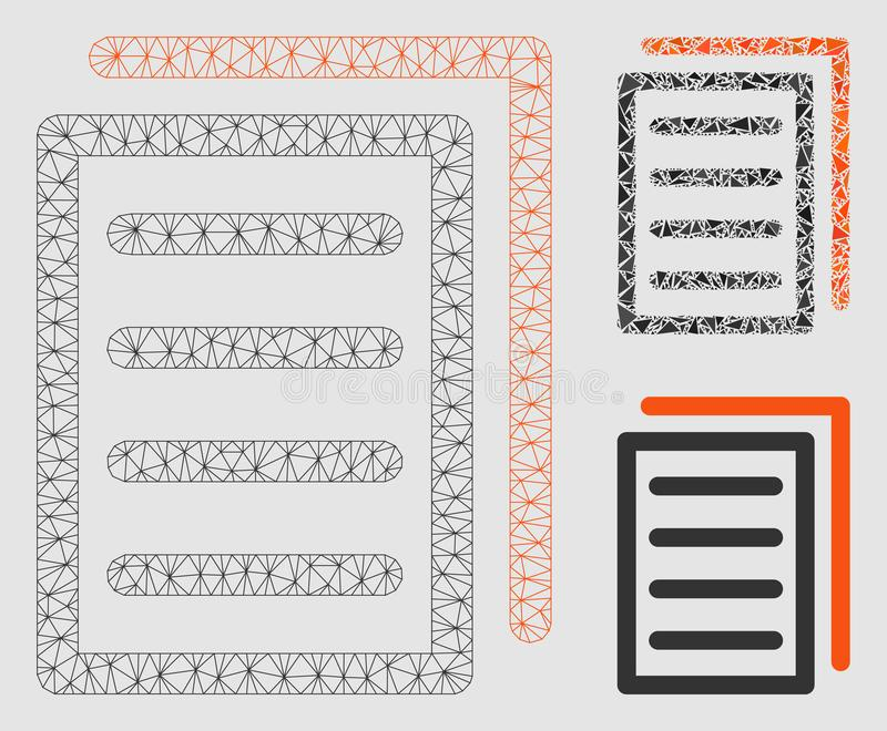 Copy Document Vector Mesh Wire Frame Model and Triangle Mosaic Icon stock illustration