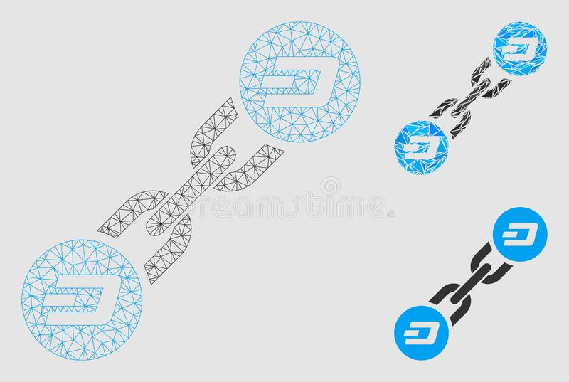 Dash Blockchain Vector Mesh Wire Frame Model and Triangle Mosaic Icon. Mesh Dash blockchain model with triangle mosaic icon. Wire carcass triangular network of stock illustration
