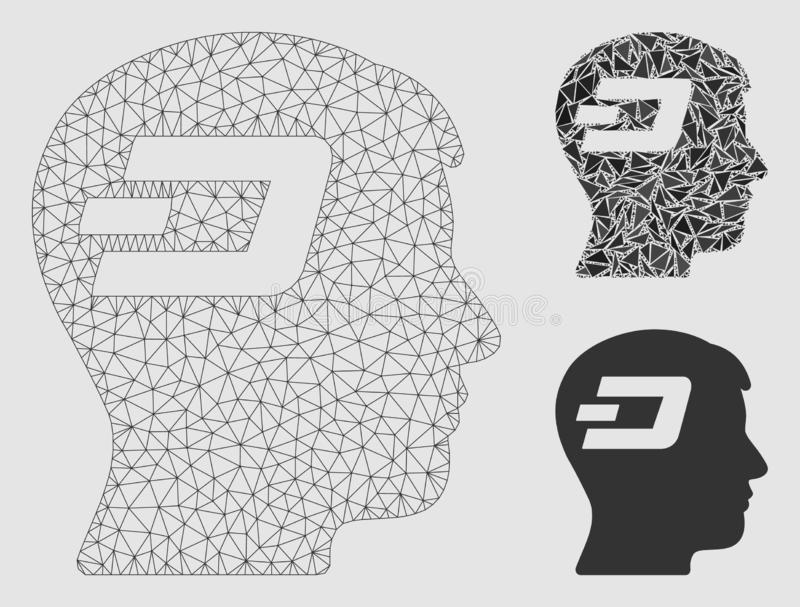 Dash Brain Vector Mesh 2D Model and Triangle Mosaic Icon. Mesh Dash brain model with triangle mosaic icon. Wire carcass triangular mesh of Dash brain. Vector vector illustration
