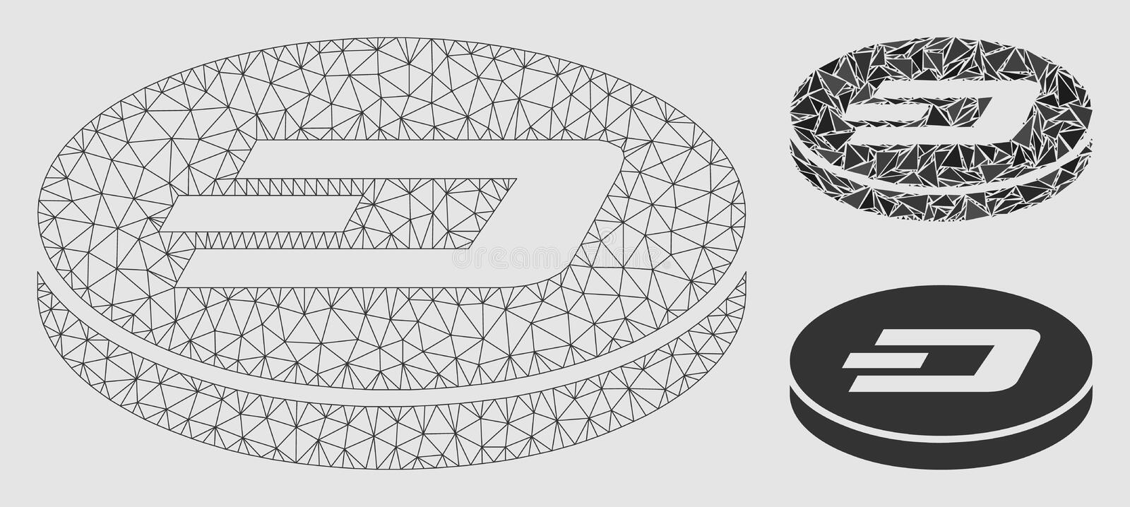 Dash Coin Vector Mesh Wire Frame Model and Triangle Mosaic Icon. Mesh Dash coin model with triangle mosaic icon. Wire carcass polygonal mesh of Dash coin. Vector vector illustration