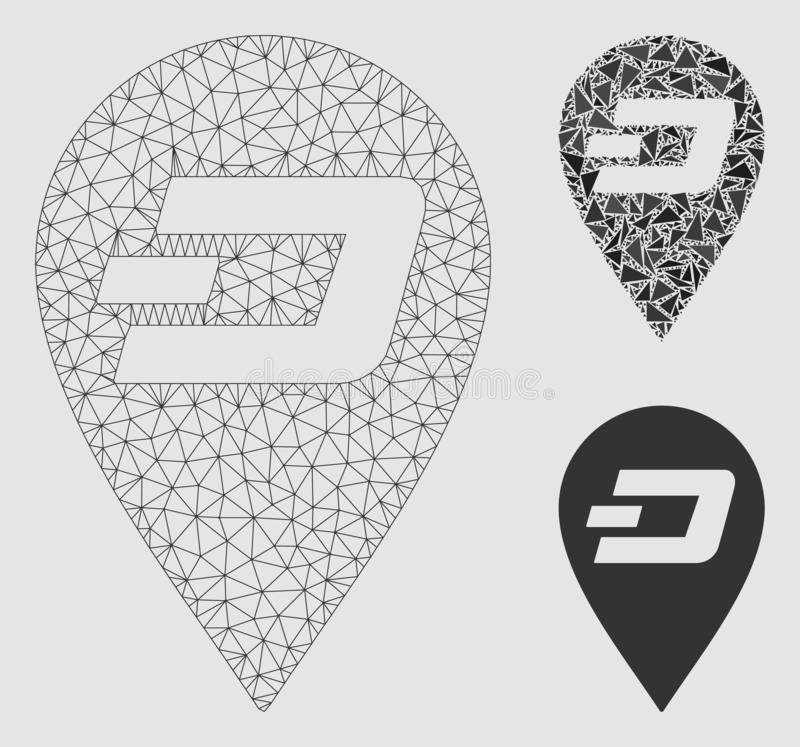 Dash Map Marker Vector Mesh Wire Frame Model and Triangle Mosaic Icon. Mesh Dash map marker model with triangle mosaic icon. Wire carcass polygonal mesh of Dash vector illustration