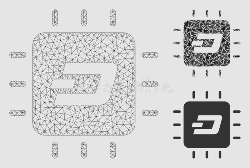 Dash Processor Chip Vector Mesh Wire Frame Model and Triangle Mosaic Icon. Mesh Dash processor chip model with triangle mosaic icon. Wire carcass polygonal mesh stock illustration