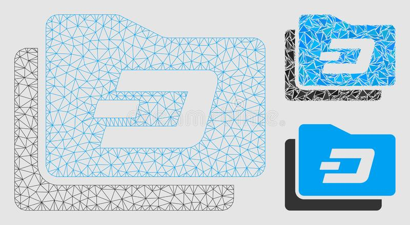 Dash Purse Vector Mesh 2D Model and Triangle Mosaic Icon. Mesh Dash purse model with triangle mosaic icon. Wire carcass triangular mesh of Dash purse. Vector vector illustration