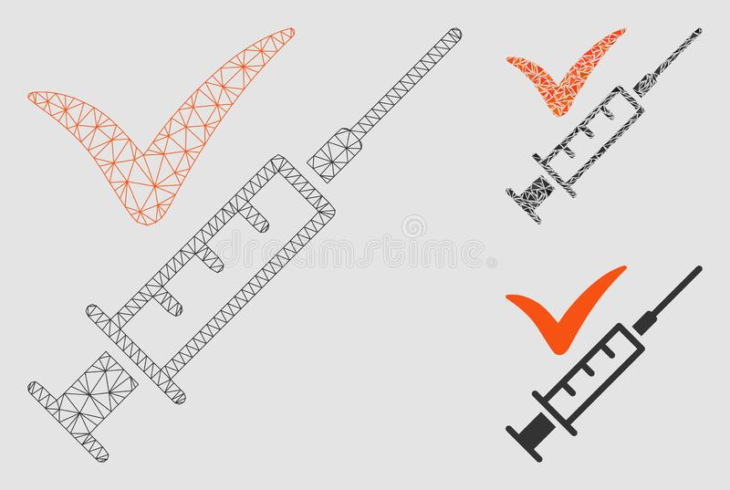 Done Vaccination Vector Mesh 2D Model and Triangle Mosaic Icon. Mesh done vaccination model with triangle mosaic icon. Wire frame polygonal mesh of done stock illustration