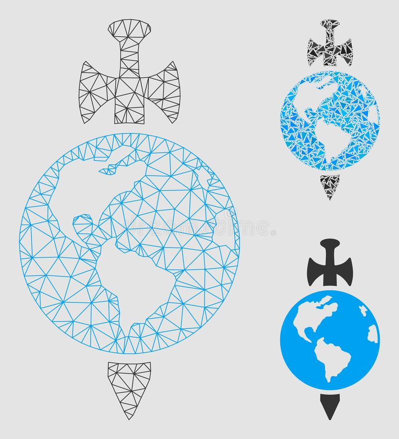 Earth Guard Vector Mesh Network Model and Triangle Mosaic Icon royalty free illustration