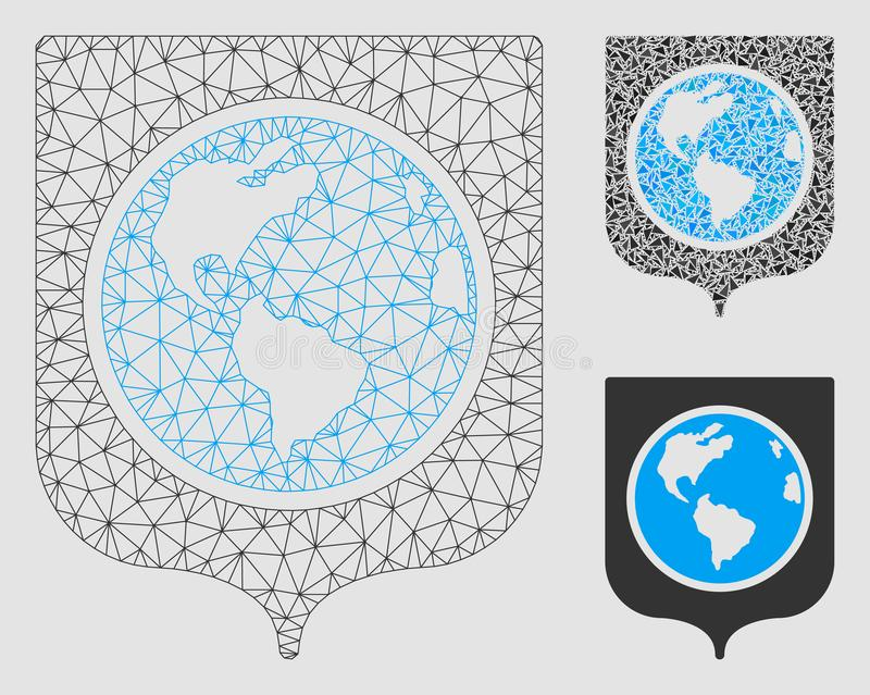 Earth Shield Vector Mesh Wire Frame Model and Triangle Mosaic Icon vector illustration