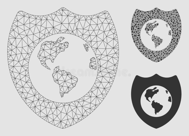 Earth Shield Vector Mesh Network Model and Triangle Mosaic Icon vector illustration