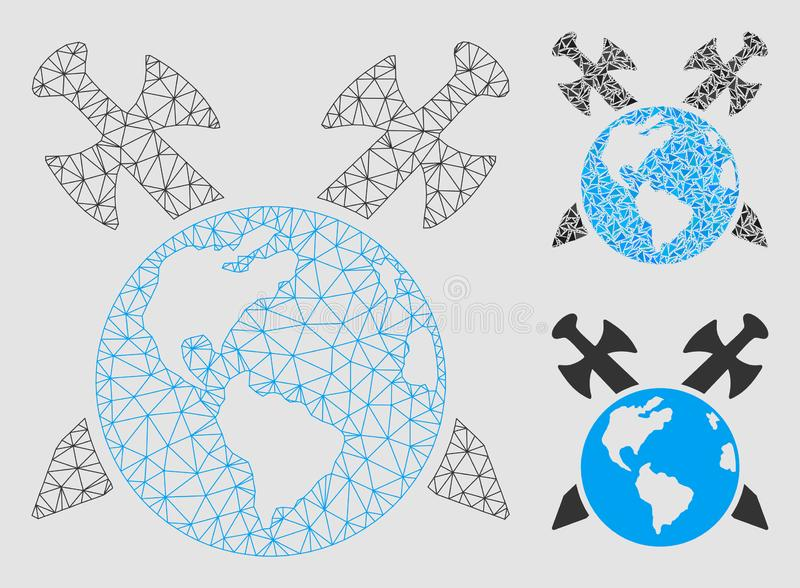 Earth Swords Vector Mesh Wire Frame Model and Triangle Mosaic Icon stock illustration