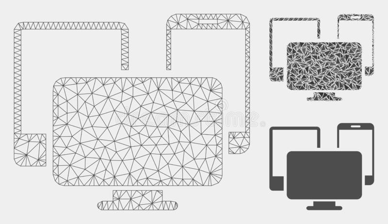 Electronic Devices Vector Mesh Wire Frame Model and Triangle Mosaic Icon. Mesh electronic devices model with triangle mosaic icon. Wire carcass triangular mesh royalty free illustration