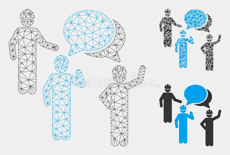 Engineer Persons Forum Vector Mesh 2D Model and Triangle Mosaic Icon royalty free illustration