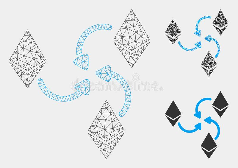 Ethereum Mixer Swirl Vector Mesh 2D Model and Triangle Mosaic Icon vector illustration