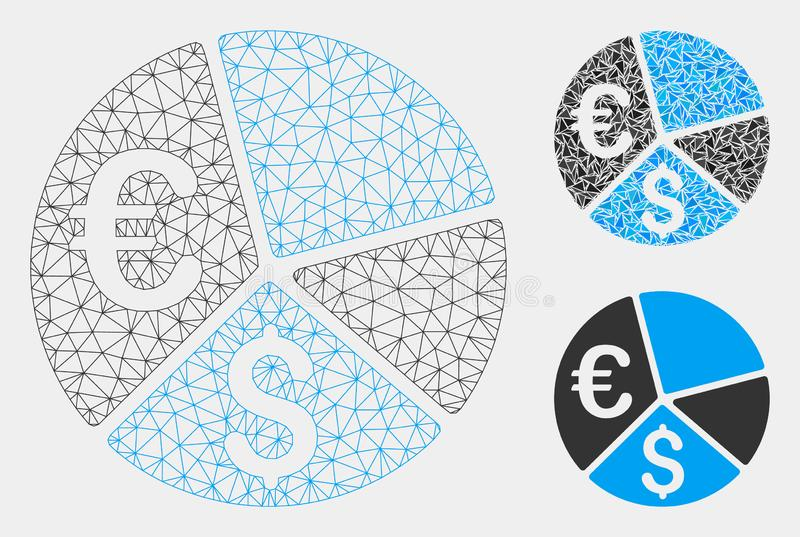 Euro and Dollar Pie Chart Vector Mesh Wire Frame Model and Triangle Mosaic Icon stock illustration