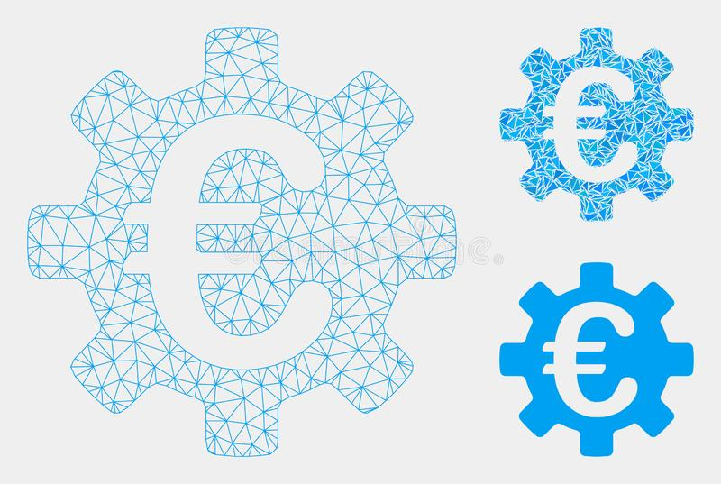 Euro Machinery Gear Vector Mesh 2D Model and Triangle Mosaic Icon royalty free illustration