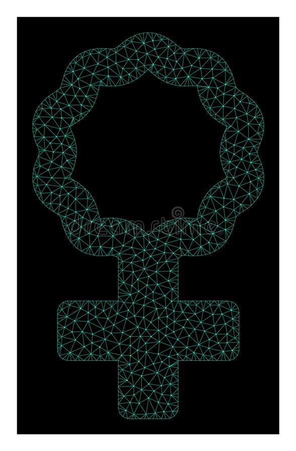 Mesh Female Cell Symbol in Polygonal Network Vector Style stock illustration