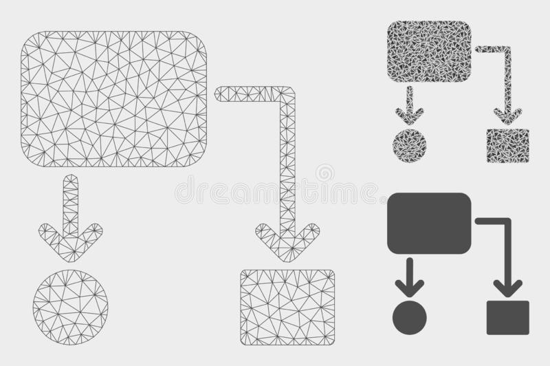 Flow Chart Vector Mesh 2D Model and Triangle Mosaic Icon. Mesh flow chart model with triangle mosaic icon. Wire carcass polygonal mesh of flow chart. Vector vector illustration