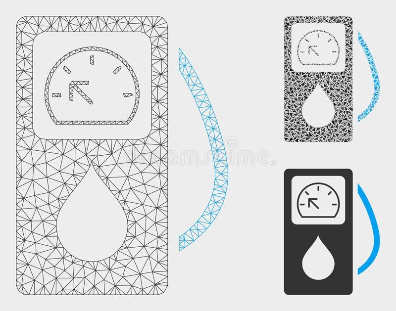 Gas Station Vector Mesh Network Model and Triangle Mosaic Icon. Mesh gas station model with triangle mosaic icon. Wire frame triangular mesh of gas station vector illustration