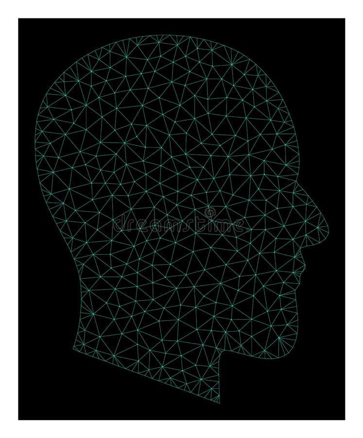 Mesh Gentleman Profile in Polygonal Network Vector Style stock illustration