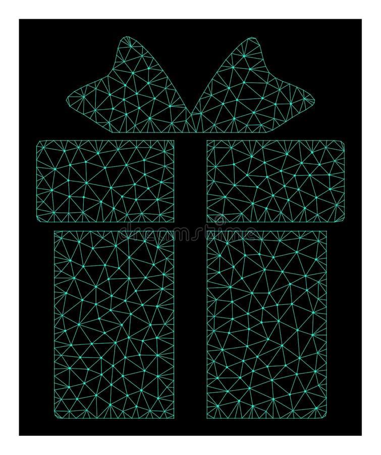 Mesh Gift in Polygonal Network Vector Style vector illustration