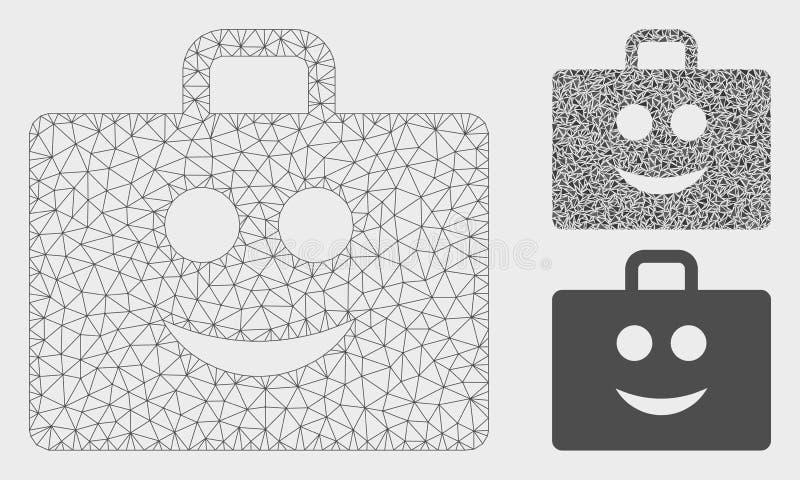 Glad Case Vector Mesh Wire Frame Model and Triangle Mosaic Icon. Mesh glad case model with triangle mosaic icon. Wire carcass triangular mesh of glad case stock illustration