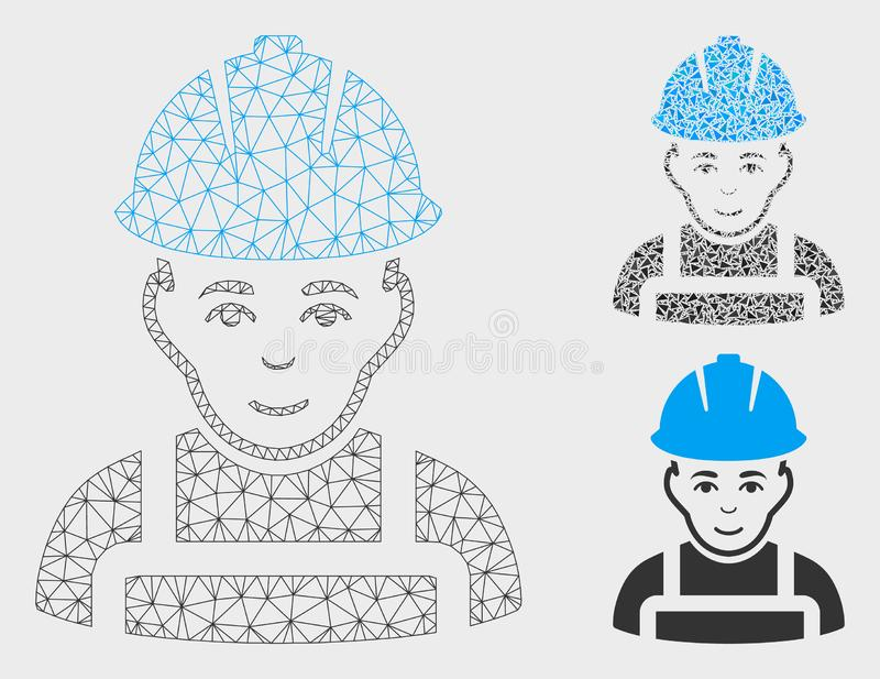 Glad Worker Vector Mesh Wire Frame Model and Triangle Mosaic Icon. Mesh glad worker model with triangle mosaic icon. Wire frame triangular mesh of glad worker royalty free illustration