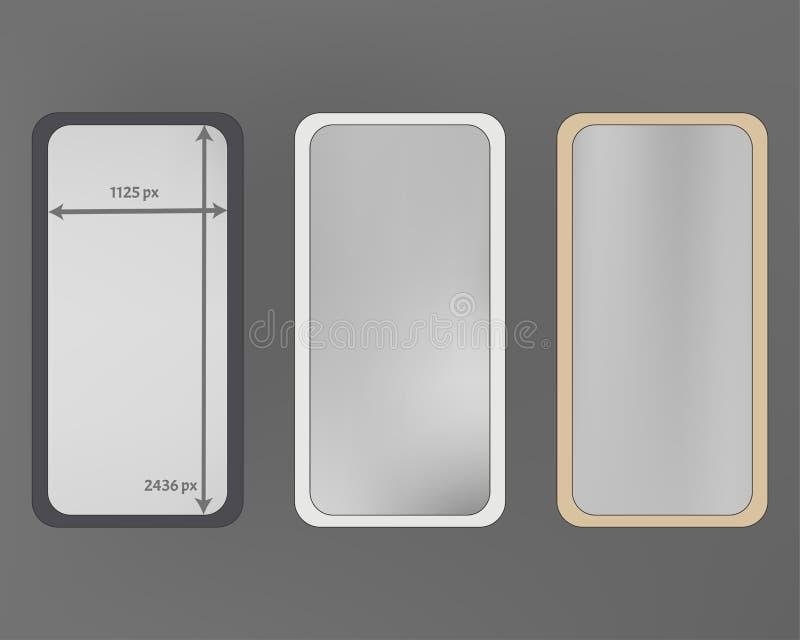 Mesh, gray colored phone backgrounds kit. stock illustration