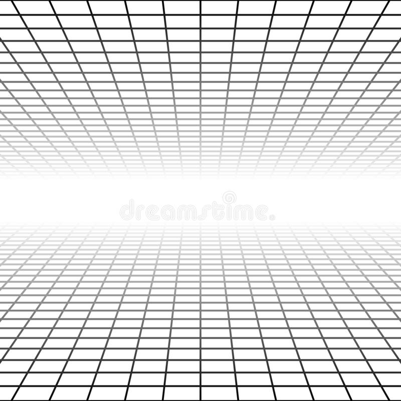 Free Mesh, Grid In Perspective Vanish, Diminish To Distant Horizon. Virtual 3D Space Render. Skyline Converge Abstract Background. Royalty Free Stock Image - 158005726