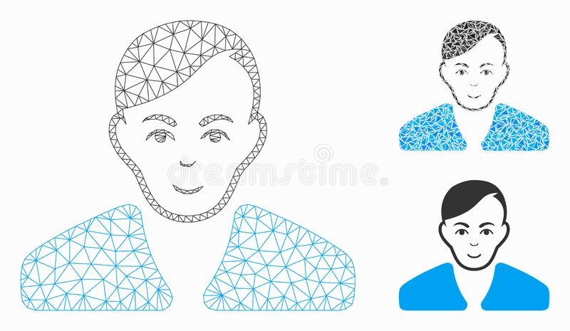 Guy Vector Mesh Carcass Model and Triangle Mosaic Icon. Mesh guy model with triangle mosaic icon. Wire carcass polygonal mesh of guy. Vector mosaic of triangle royalty free illustration
